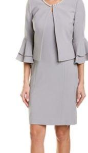 Faux Pearl Trim 2PC Jacket Dress
